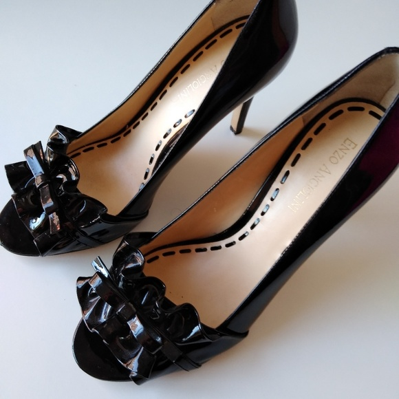0767efaf979 Enzo Angiolini Shoes | Adorable Patent Leather Ruffle Bow Peep Toe ...